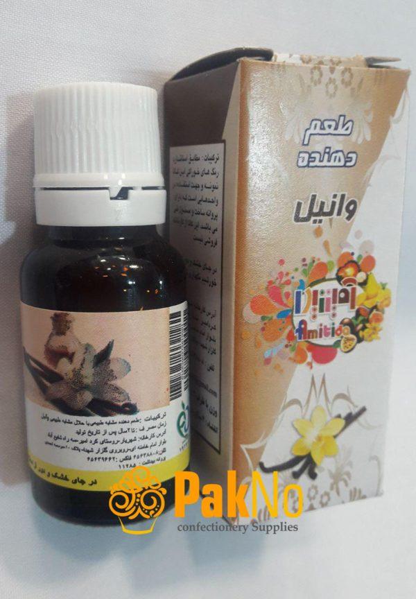 اسانس خوراکی قطره ای وانیل 50 گرمی به عنوان طعم دهنده در کیک و دسر استفاده دارد.
