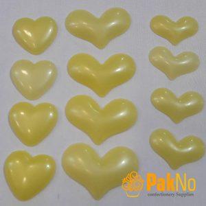 قلب پلاستیکی تزئینی زرد در 3 اندازه و شکل مختلف