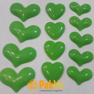 قلب تزئینی پلاستیکی سبز در 3 شکل و اندازه مختلف