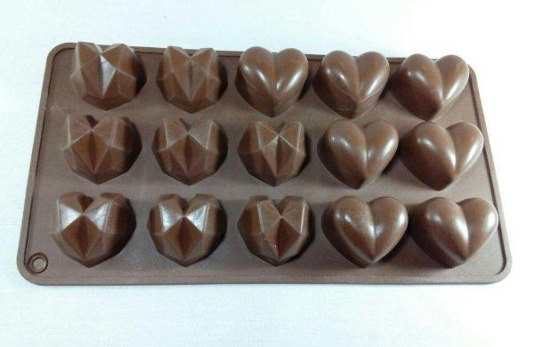 قالب سیلیکونی شکلاتی قلب با 2 طرح