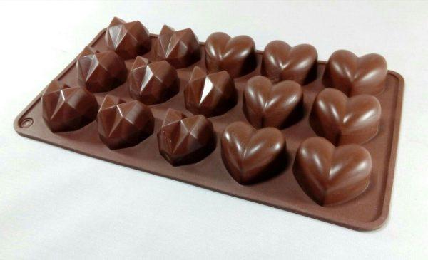 قالب سیلیکونی شکلاتی با 2طرح قلب